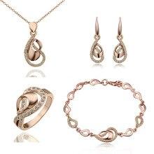 Золотого цвета ожерелье браслет серьги кольцо Модные Австрийские кристаллы комплект ювелирных изделий