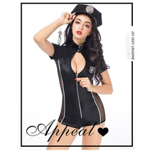 New sexy ladies bar and nightclub black cut-out police costume Costumes are Exotic