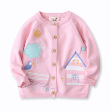 New Pink Girls Cardigan Sweater Fashion Long Sleeve Kids Cardigans Children's Clothing Cute Cartoon Sweater For Girl 2-7 Yrs все цены