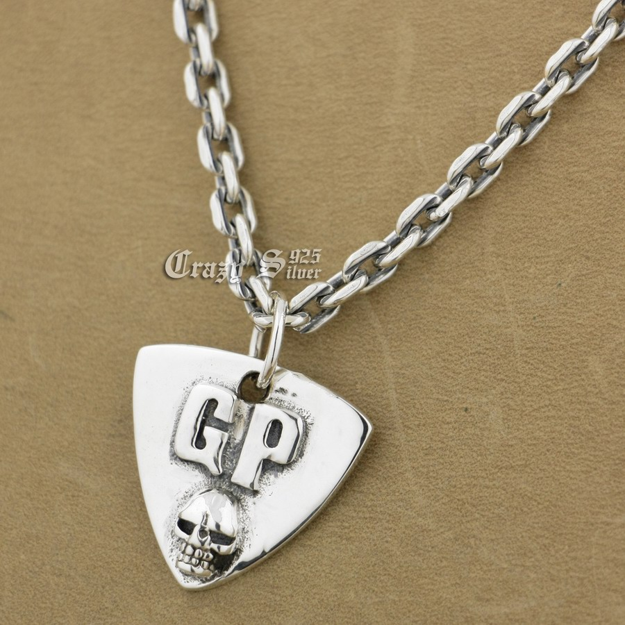 925 Sterling Silver Guitar Pick Skull Biker Pendant 9S122A 925 Sterling Silver Necklace 24 inches