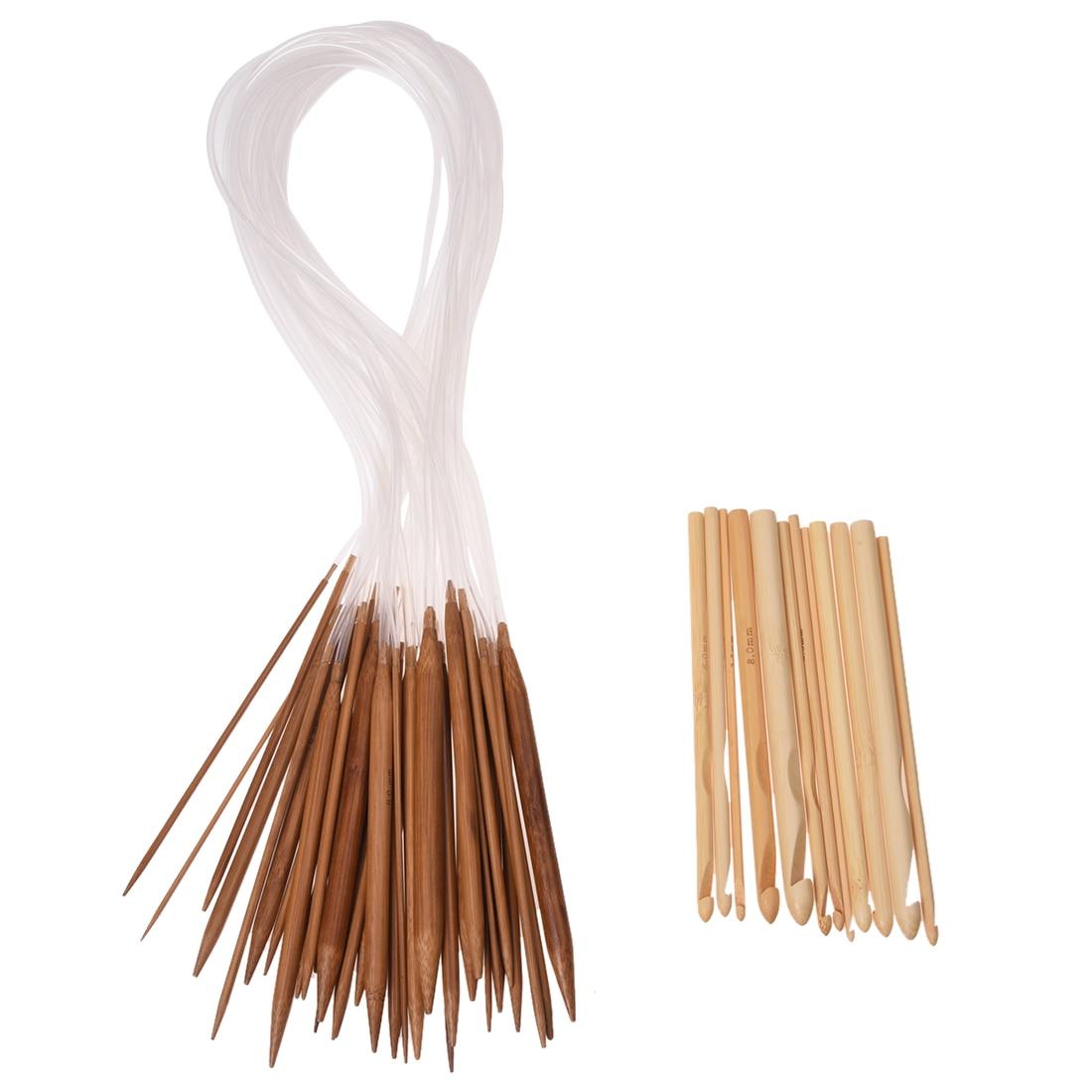 18 Sizes 2.0mm-10.0mm 80 cm Circular Needles and 12 Sizes 3,0-10mm Bamboo Crochet Hook Knitting Needles