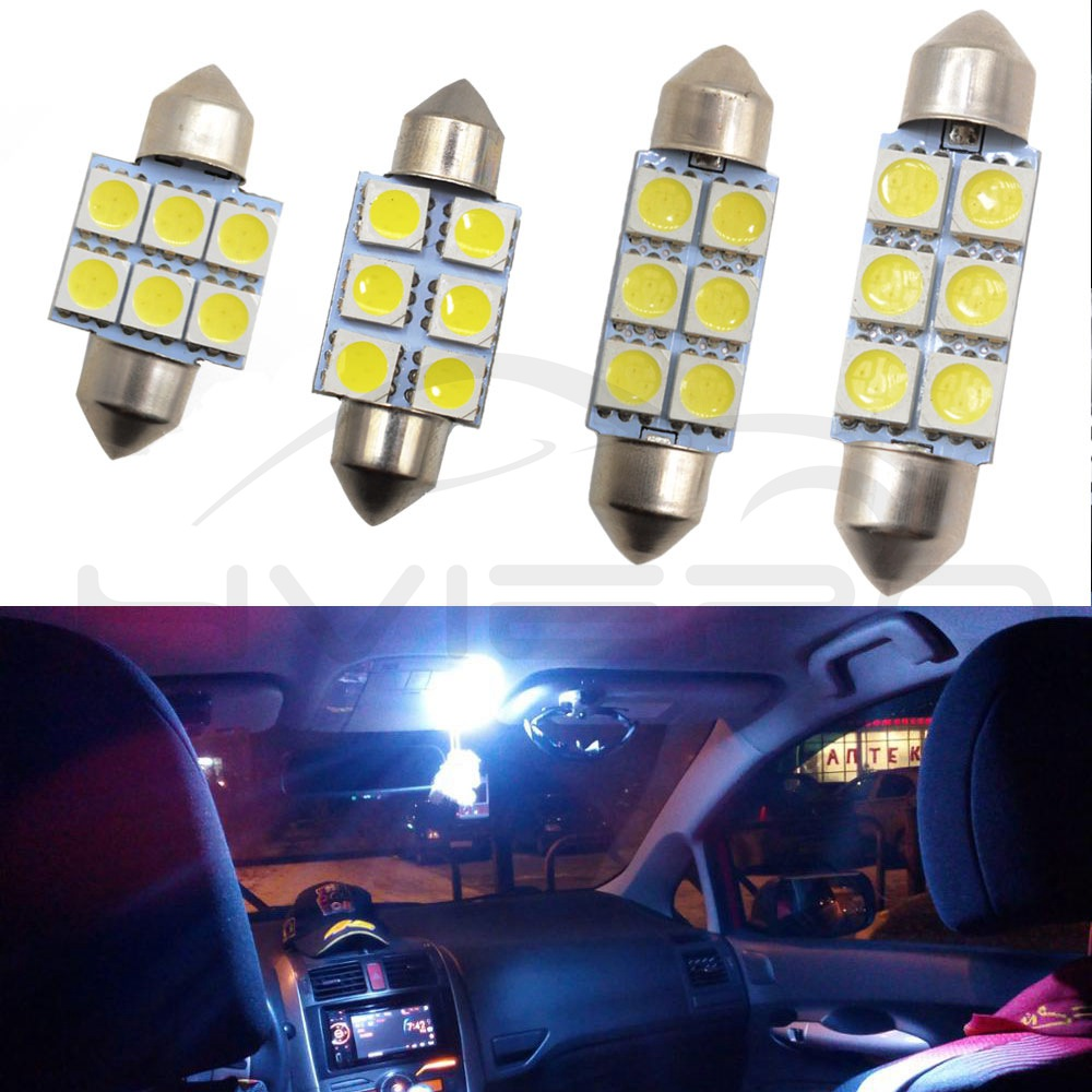 Hviero White Car Led 31mm 36mm 39mm 41mm C5w 5050 6smd dc 12v Interior Festoon Dome Car Light Reading Lamp License plate Luggage Bulb