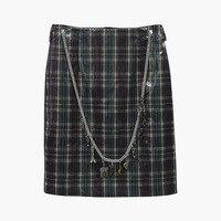 Women Girls High Waist Plaid Skirt Casul A Line Mini Skirt Female Shining Chain Belt Vintage Skirt British style Faldas Saia