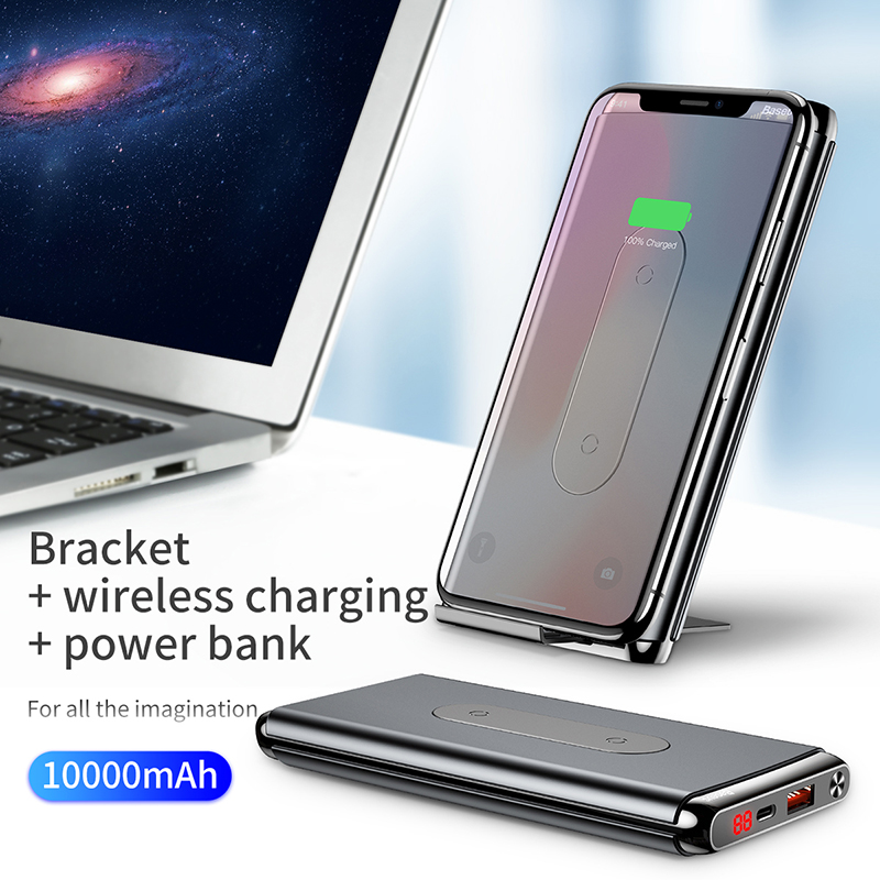 Baseus 10000mAh Portable Charger QI Wireless Charger Power Bank For iPhone Samsung PD QC3 0 Fast