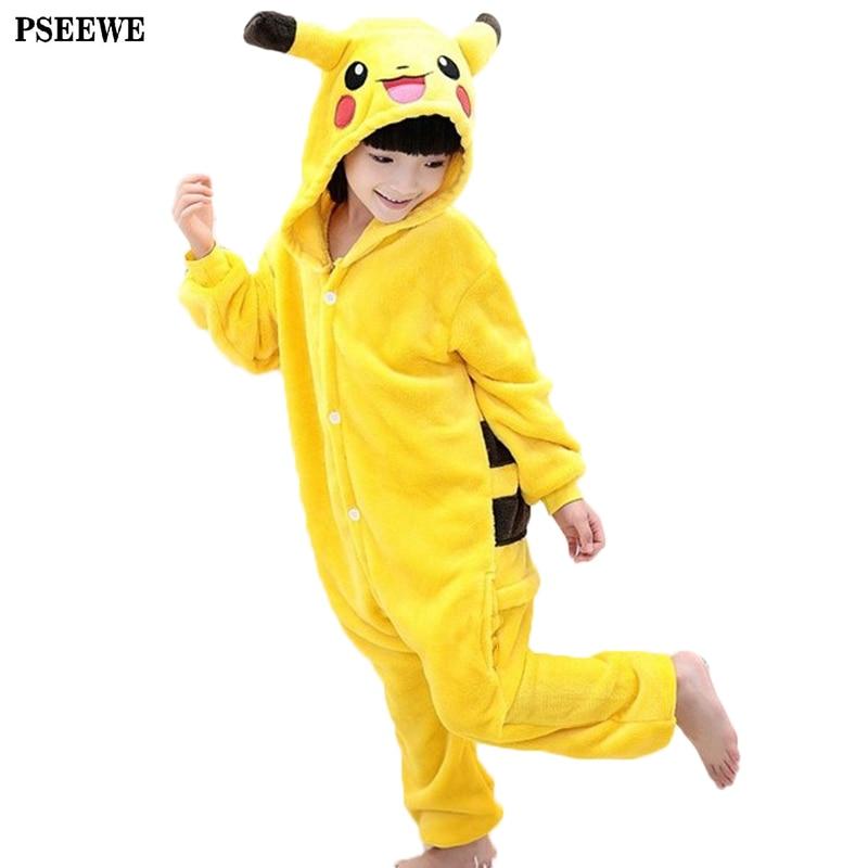 2017 winter New Flannel pyjama baby girl pyjama set Pikachu Stitch cosplay Hooded christmas pijama infantil