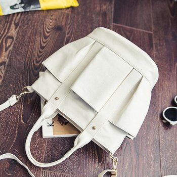 Fashionable Female Solid Color Handbags Women Casual Canvas Tote Bags Vintage Women Handbags Ladies Crossbody Bags 1