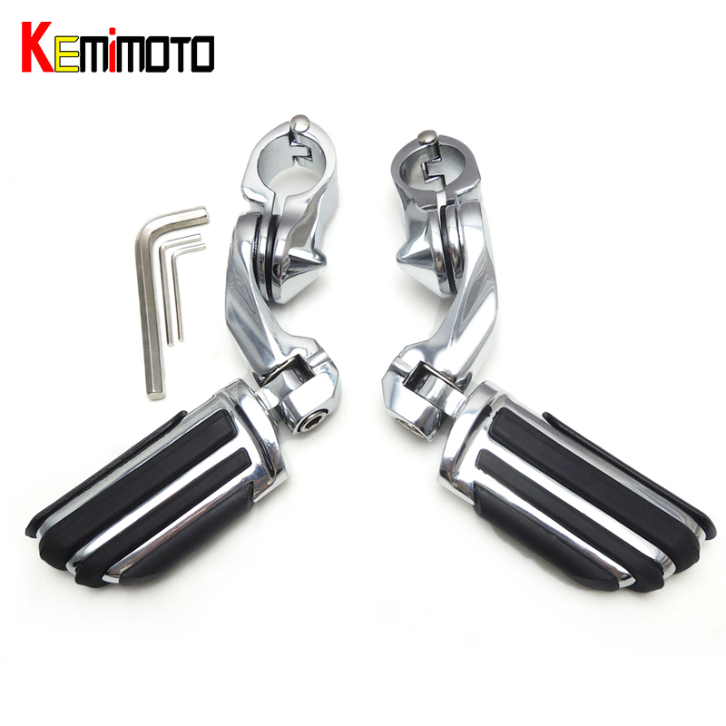 KEMiMOTO Short Angled Adjustable Highway 32mm 1 1 4 Foot Pegs Footrest For Electra Road King