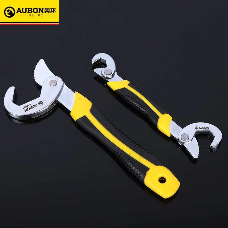 цена на AUBON Universal 9~32mm Quick Snap and Grip Adjustable Spanner Wrench Tool Set Pipe Wrench Household Hand Tools