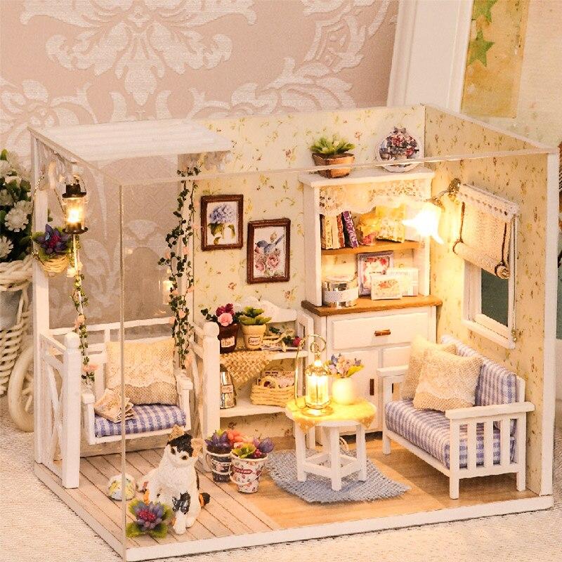 Móveis Casa de bonecas Em Miniatura Diy 3D Miniaturas Casa De Bonecas De Madeira Brinquedos para Crianças Presentes de Aniversário Casa Gatinho Diário H013