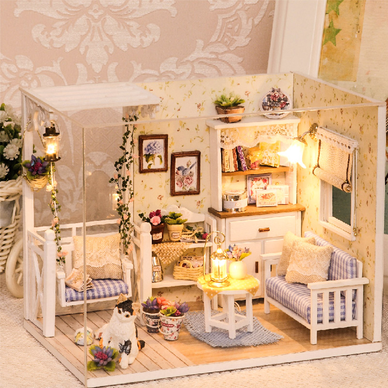 Muebles de Casa de muñecas Diy miniatura 3D de madera Miniaturas Casa de muñecas juguetes para niños regalos de cumpleaños Casa gatito diario H013
