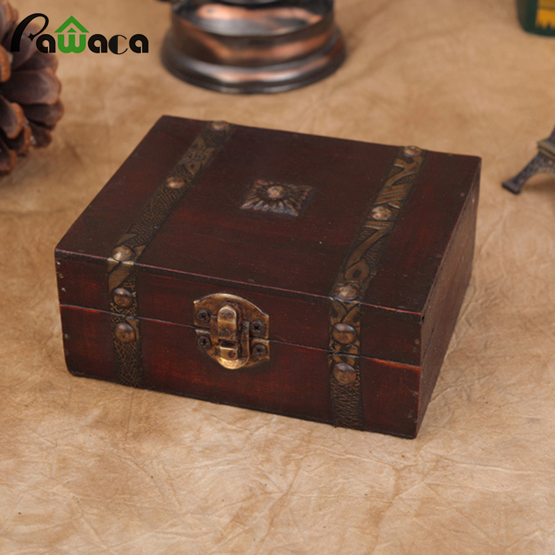 Trunk-Box Jewelry-Boxes Storage-Holder Wedding-Gift-Box Makeup Wooden Rectangle Home-Decoration