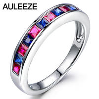 Noble Princess Cut Nutural Sapphire 14K White Gold Engagement Ring For Women Real Ruby Anniversary Wedding Band Christmas Gifts