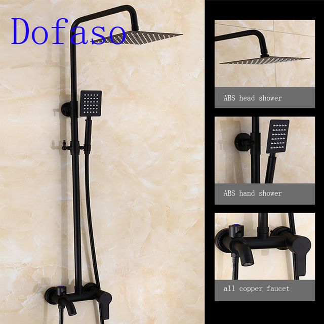 Dofaso Rubbed Bronze Black Shower Set Faucet matte black shower head ...