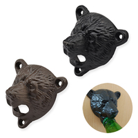 1pcs Cast Iron Wall Mounted Opener With Screws Bear Shaped Wine Beer Soda Glass Cap Bottle Opener Kitchen Bar Party Supplies