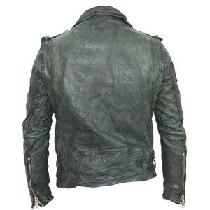Image 2 - Maplesteed vintage curtido jaqueta de couro preto vermelho verde fino casaco de couro inverno jaqueta motociclo moto motociclista roupas 145