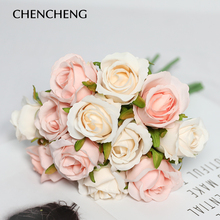 CHENCHENG 12piece/ Lots Bouquet Artificial Rose Flowers Wedding Decorative Silk Flower Party