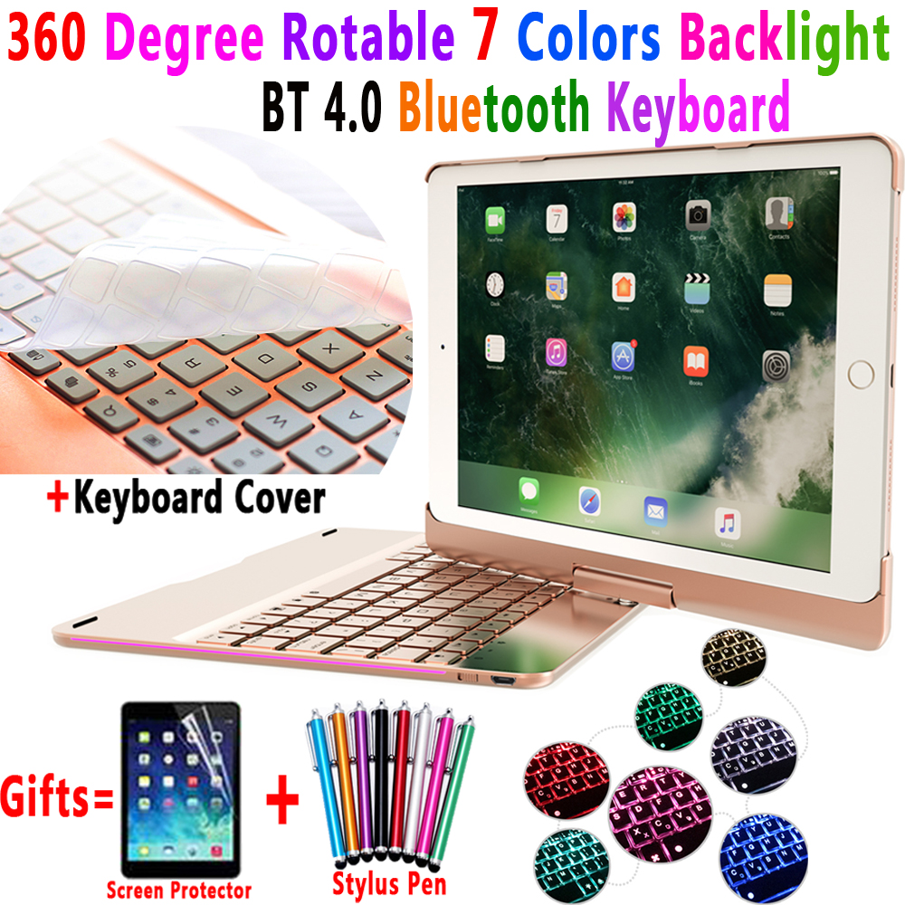 360 Degree Rotable 7 Colors Backlit Bluetooth Keyboard Smart PC Case Cover for Apple iPad 9