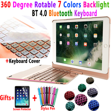 360 Degree Rotable 7 Colors Backlit Bluetooth Keyboard Smart PC Case Cover for Apple iPad 9.7 2017 2018 Air 1 2 5 6 Pro