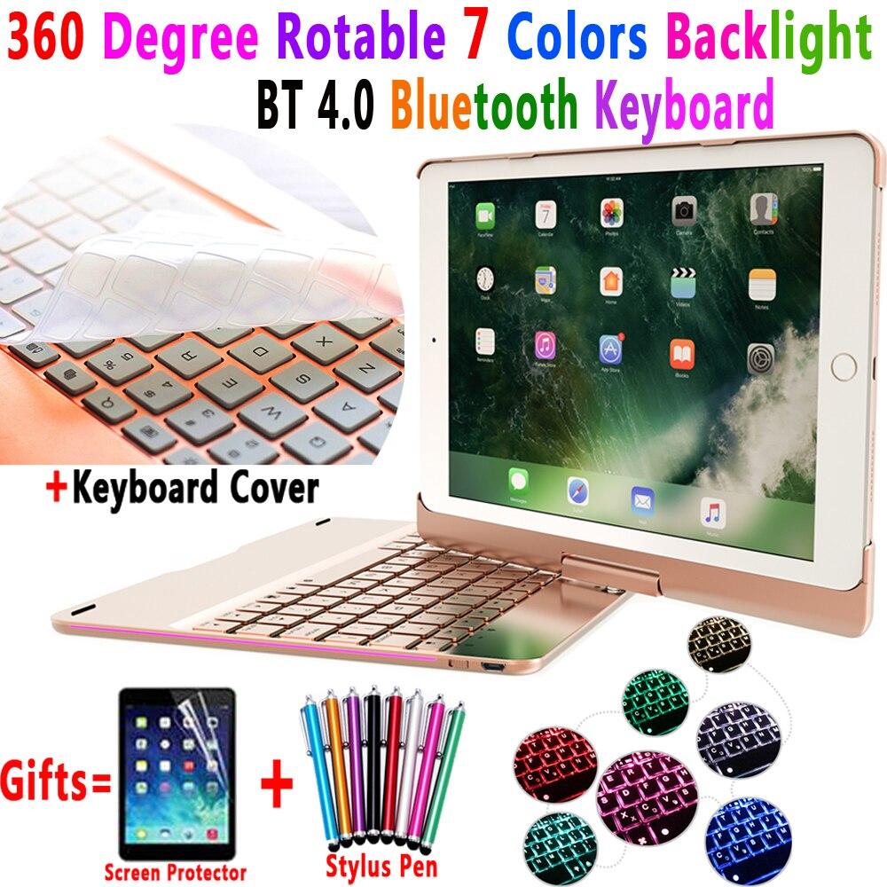 360 degrés Rotable 7 couleurs rétro-éclairé Bluetooth clavier Smart housse étui à pc pour Apple iPad 9.7 2017 2018 iPad Air 1 2 5 6 Pro 9.7