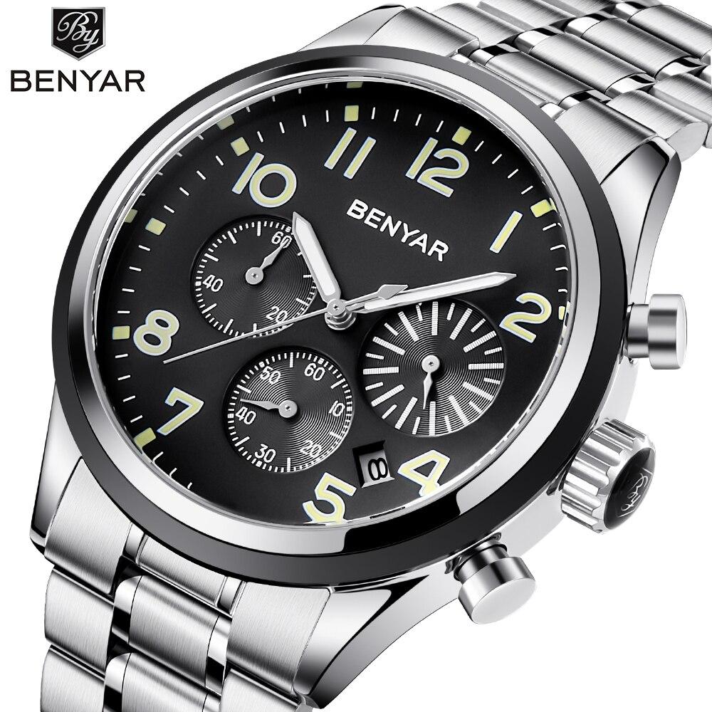 BENYAR Hommes Montres Top Marque De Luxe Quartz Montre Chronographe En Acier Inoxydable Montre-Bracelet des Hommes Horloge montre homme Relogio feminino
