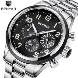 BENYAR męskie zegarki Top marka luksusowy zegarek kwarcowy chronograf ze stali nierdzewnej zegarek na rękę mężczyźni zegar montre homme Relogio feminino