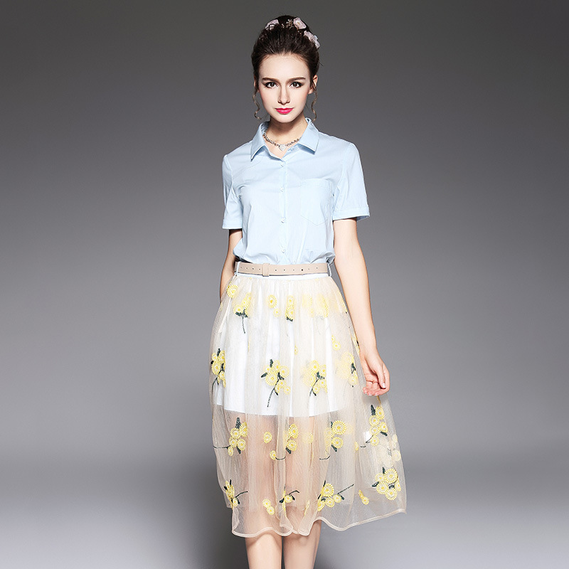 2017 été femme élégante robe ensemble twinset turn down col chemise robe + maille broderie jupe grande taille juniors L-XXXXXL 5518