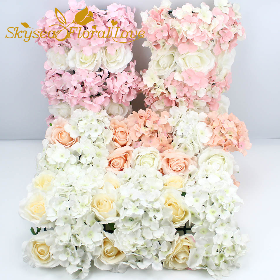 Wedding decoration rose hydrangea artificial flower wall arch flower background wedding flowers