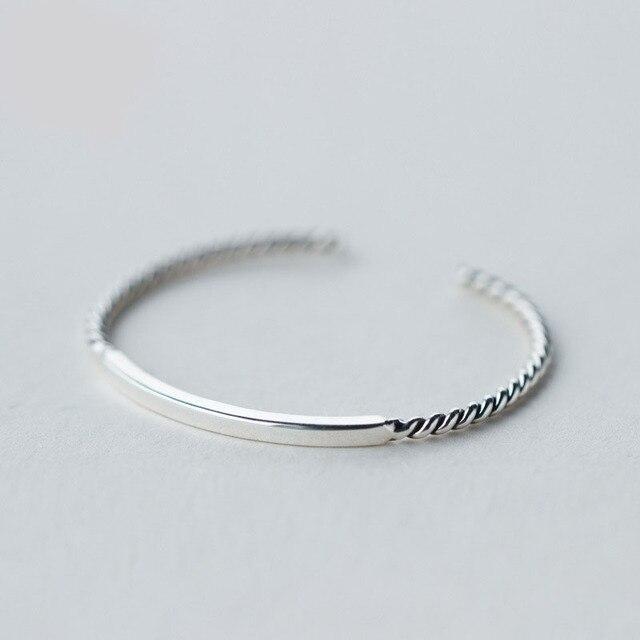 VLOVE Female Elegant Twist Bracelets Bangles Vintage 925 Sterling Silver Hand Cuff Bangle For Women/Girls