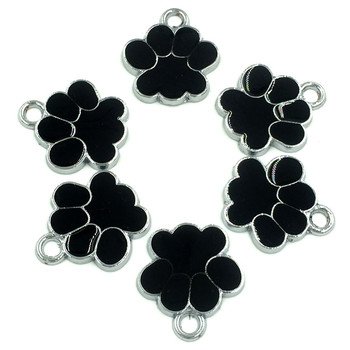 30Pcs Silver Tone Bear's Pat Enamel Black Ours Patte Charms Pendants Jewelry Findings 19x17mm