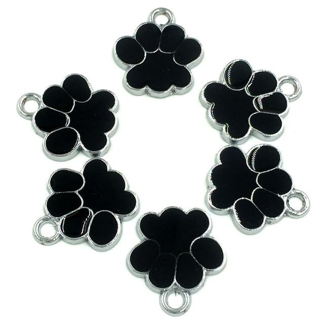 30Pcs Silver Tone Bear's Pat Enamel Black Ours Patte Charms Pendants Jewelry Findings 19x17mm