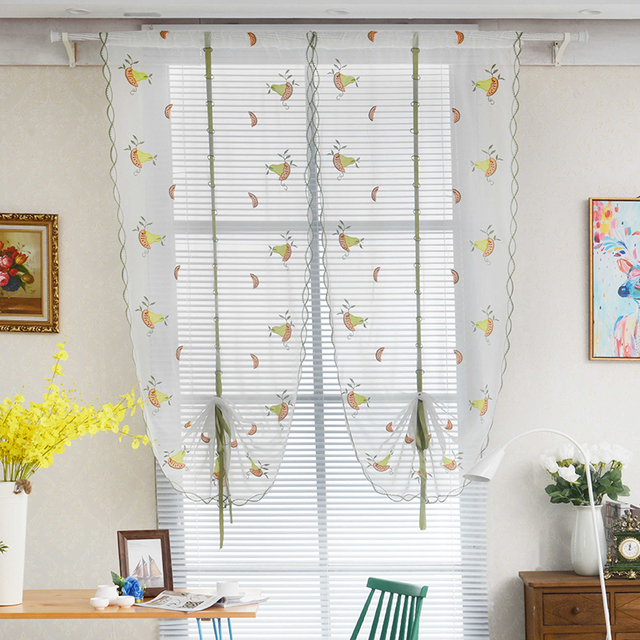 Genial 1PCS Green Pear Fruit Roman Curtains Tulle Pastoral Voile Panel For The  Kitchen Window Curtains Living