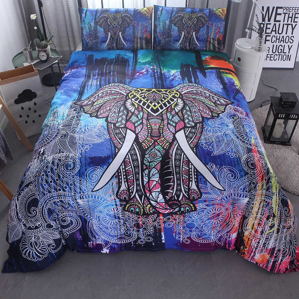Famous wind elephant quilt cover bedding and head pillowcase size home textile three-piece bedding set pillowcaseFamous wind elephant quilt cover bedding and head pillowcase size home textile three-piece bedding set pillowcase
