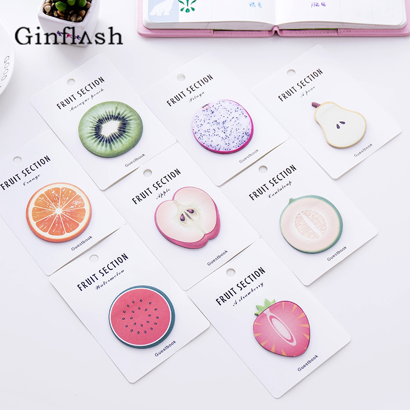 2pc Cute Kawaii Fruit Notebook Memo Pad Self-Adhesive Sticky Notes Office School Supplies Post Memo Pad color random