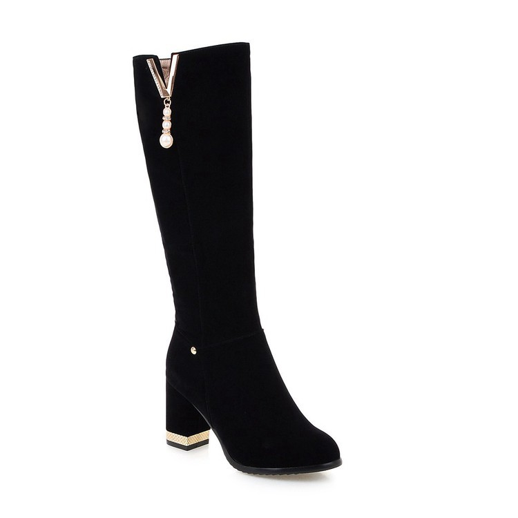 New Beaded Womens Large Size 40 High-heeled Suede Black Knee High Boots Autumn And Winter 7cm15