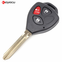 New Uncut Remote Key Fob 3 Button 433 92Mhz 4D67 Chip For 2005 2008 Toyota Hilux
