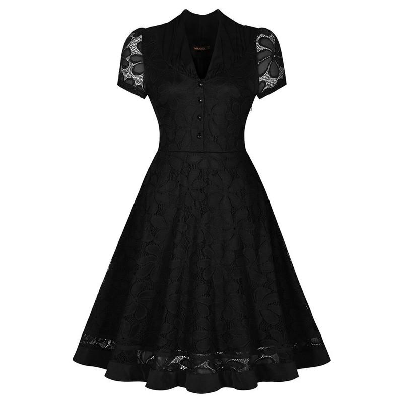 V249 Womens Vintage V-Neck Short Sleeve 1950s Audrey Hepburn Retro Style Pin up Rockabilly Swing Black Lace Party Dresses (1)