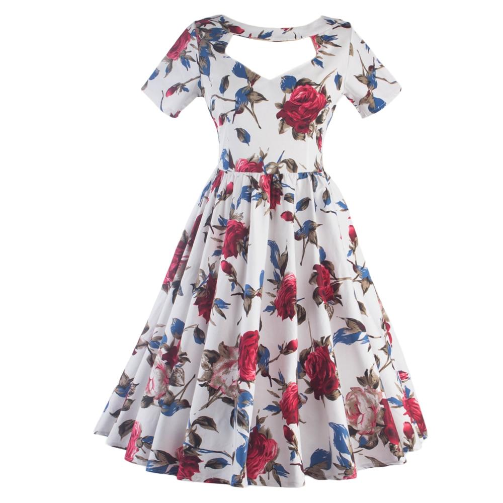 24236bd874a6 2017 Vintage 1950s Style Red Floral Short Sleeves Swing Dress Floral Skater  Dress Woman Vestidos