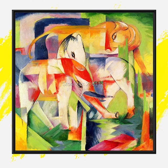 Hand Painted Franz Marc Famous Oil Painting Copy Colorful Zoo Abstract Animal Bright Modern Decorations