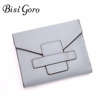 Bisi Goro New 2017 Women Short Wallet Women Genuine Leather Solid Clutch Wallets Preppy Style Coin