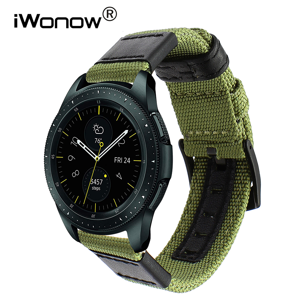Genuine Nylon + Leather Watchband 20mm 22mm for Samsung Galaxy Watch 42mm 46mm SM-R810/R800 Quick Release Band Canvas Strap