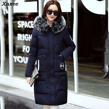 New Winter Women Long Coat 2018 Fashion Female Duck Parkas Jacket Thick Warm Big Fur Collar Coat Slim Plus Size стоимость
