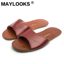 2017 Home Slipper Women Leather Flat with Sandals Lady Casual Indoor Summer Shoes Genuine Cow Leather Floor Slipper  8805