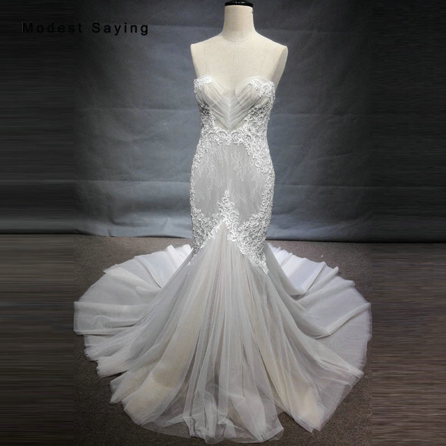 Luxury Ivory and Champagne Mermaid Beaded Lace Wedding Dresses 2018 Formal Garden Bridal Gowns vestido de noiva Custom Made