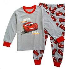 Напечатаны наряды наборы футболки мальчиков мальчик шт./компл. длинным пижамы автомобиль рукавом