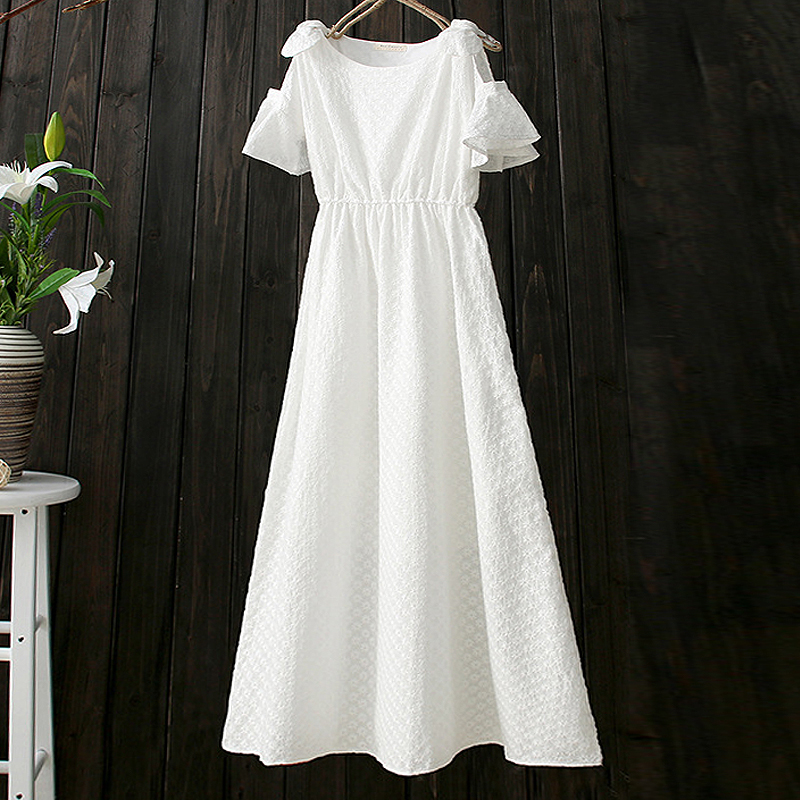 Free Shipping 2017 New Fashion Long Mid calf Summer 100% Cotton Embroidery Flower Short sleeve Dresses White And Blue Color