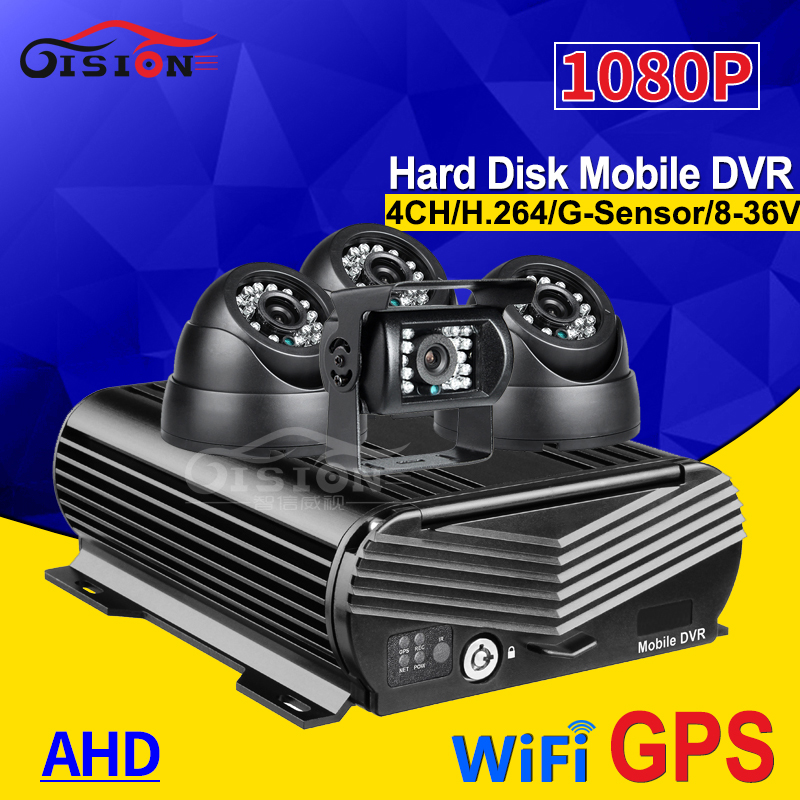 Free Shipping 1080P Hard Disk HDD  I/O H.264 4CH  WiFi GPS Track Car DVR Video Recorder 4PCS 2.0MP Night Vision Car Camera Kit