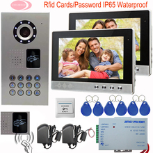 "10"" High Resolution Color Video Doorphone Door Entry Intercom Systems Rfid Cards Doorbell IP65 Waterproof Security Home Phone"