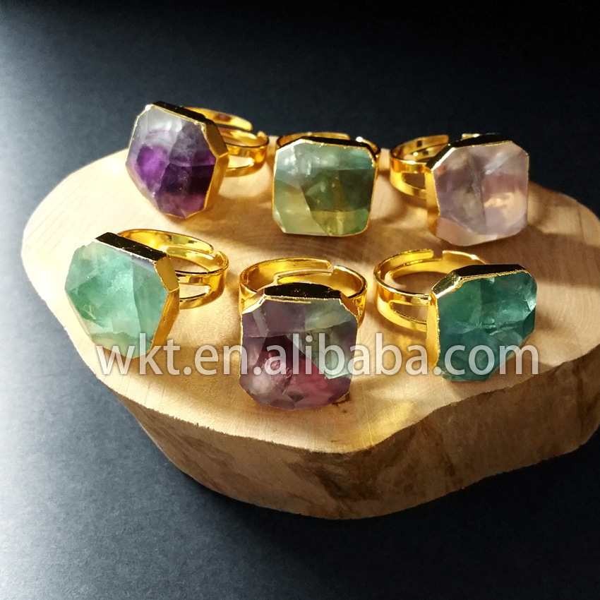 WKT Hot Sale Natural Rainbow Fluorite Stone Rings With 24k
