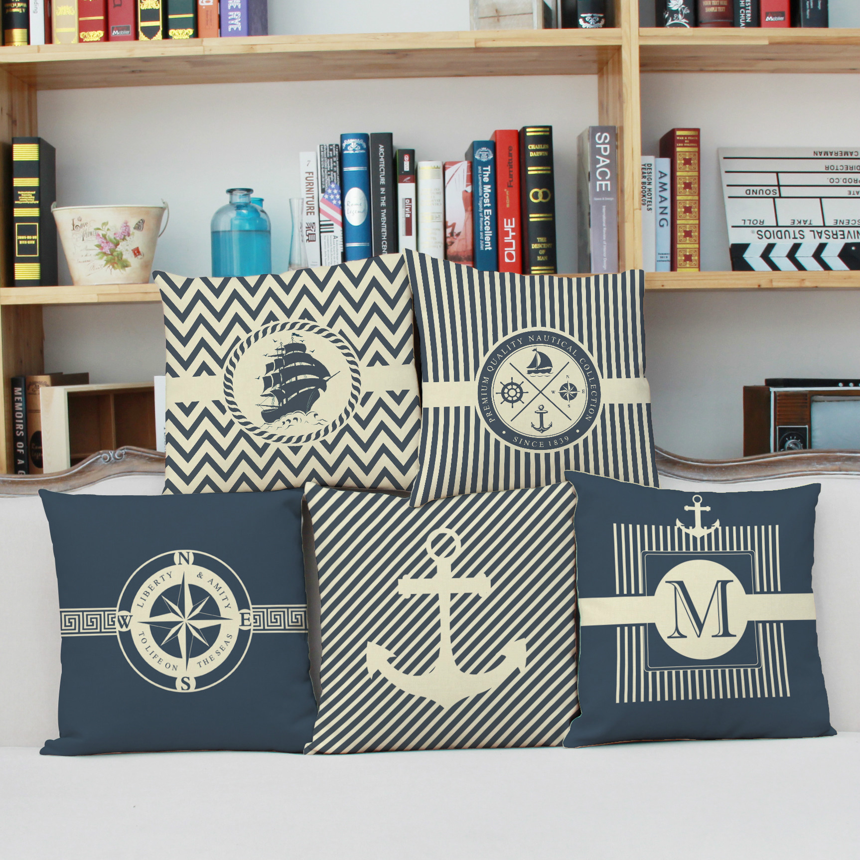 Fresh sea anchor boat rudder composite pillow linen custom office nap pillow cushion for students and Sofa Bedroom Throw Pillow
