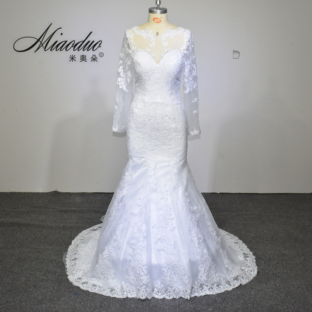 New long sleeve mermaid mermaid wedding dresses 2017 for Long sleeve white lace wedding dress
